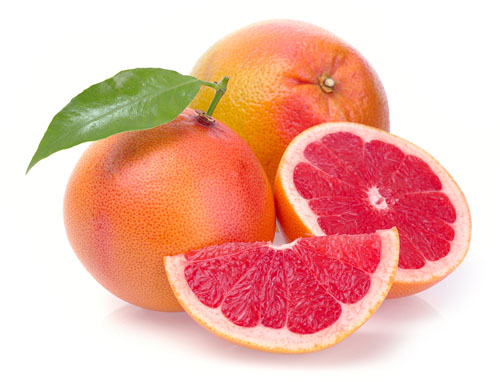 Whole and Half Grapefruit With Leaf