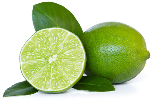 Whole and Half Lime with Leaves