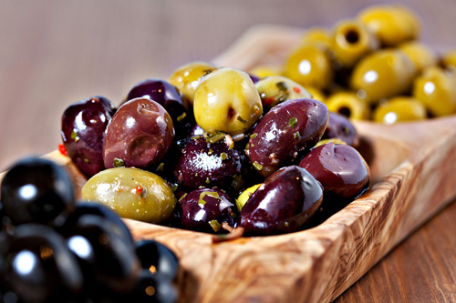 Assorted Olives in a Wooden Tray