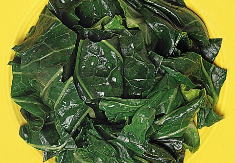 Sauteed Spinach on a Yellow Plate