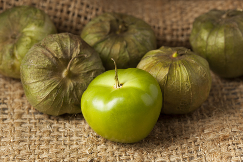 Green Tomatillos Peeled and Unpeeled